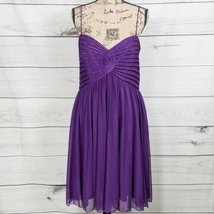SANDRA DARREN Purple Spaghetti Strap Party Dress